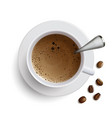 cup of coffee with a spoon and coffee beans vector image vector image