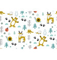 cute seamless pattern with forest animals with vector image vector image