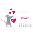 february calendar page with cute rat with heart vector image