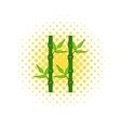 Green bamboo stem icon in comics style vector image vector image