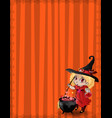 halloween template with witch girl bat and vector image vector image