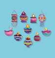 happy diwali festival collection icons diya lamps vector image vector image