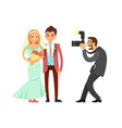 happy married couple and wedding photographer vector image vector image