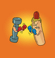 hot dog and dumbbell boxing healthy and harmful vector image vector image