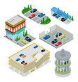isometric car parking set city transportation vector image