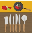Kitchen utensils on the table in the kitchen vector image