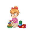 little girl playing with toys vector image