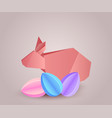 origami paper rabbit with paper eggs separately vector image vector image