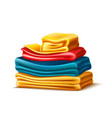 realistic folded apparel or towel pile vector image