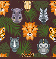 seamless pattern with african animals and tropical vector image