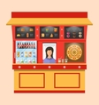 showcase shop fast food with seller vector image