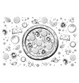 sketch italian pizza isolated on white vector image