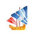small retro sailing ship with colored sails flat vector image vector image