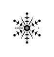 snowflake black icon sign on isolated vector image vector image