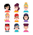 stylized beautiful young girls and women cute vector image vector image