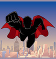 superhero coming city silhouette vector image vector image
