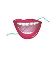teeth cleaning with a hygienic thread - female vector image