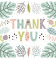 thank you cute card with hand drawn leaves vector image