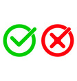 tick and red checkmark icons for checkbox symbols vector image vector image