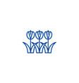 tulips symbol line icon concept tulips symbol vector image