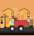 under construction truck tipper vehicle crane city vector image vector image