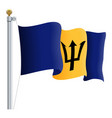 waving barbados flag isolated on a white vector image vector image