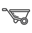 wheelbarrow line icon build and repair vector image