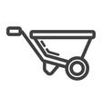wheelbarrow line icon build and repair vector image vector image