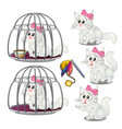 white fluffy cat was lured into a cage vector image vector image