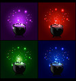 witch cauldron with boiling sparkling potion set vector image