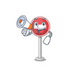 with megaphone no entry mascot shaped on cartoon vector image vector image