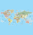 world map with borders and countries cylindrical vector image
