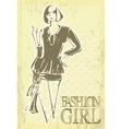 vintage fashion girl vector image