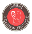 Alaskan malamute club California Tee graphic vector image