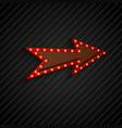 arrow sign with light bulbs on black background vector image