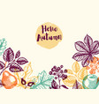 autumn background with leaves and fruits vector image