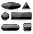 black glass buttons with chrome frame geometric vector image vector image