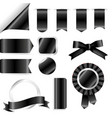 black ribbons flag and labels set isolated on vector image