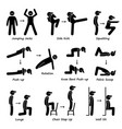 body workout exercise fitness training set 1 vector image