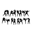 boxer duel silhouettes vector image vector image