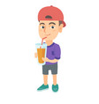 boy drinking orange juice through a straw vector image vector image