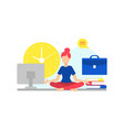 businesswoman meditating in yoga lotus position to vector image