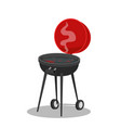 cartoon barbecue grill with hot coals juicy ready vector image vector image