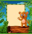 cartoon bear waving hand on hollow log near the em vector image vector image