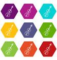 cello icon set color hexahedron vector image vector image