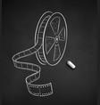 chalk drawn of film reel vector image