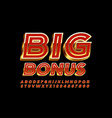 chic logo big bonus 3d red and gold font vector image