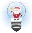 christmas card santa in the lamp christmas vector image vector image