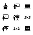 classroom icons vector image vector image