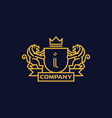 coat arms letter i company vector image vector image